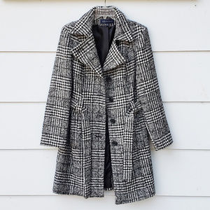 Ann Klein Black and White Plaid Belted Trench Coat